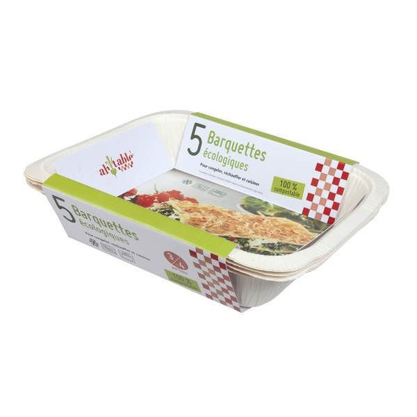 Barquettes alimentaires compostables 1,5 L - x5