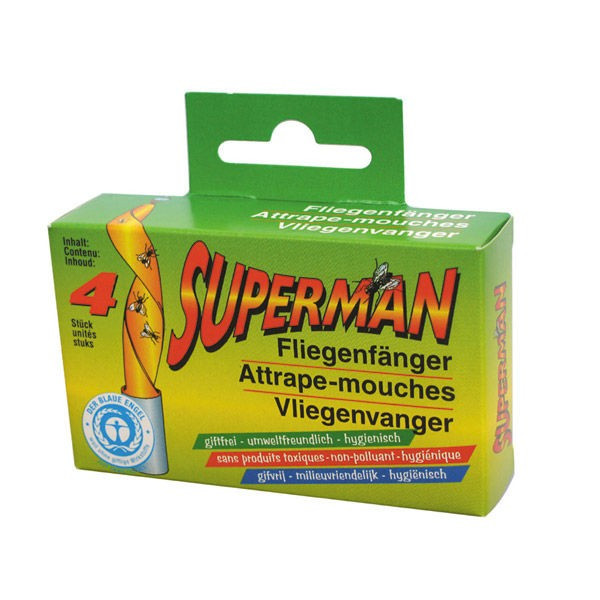 Papier attrape mouche superman - x4