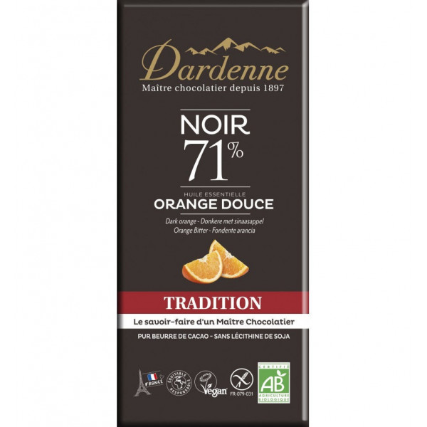 Chocolat noir à l'orange douce - 70 g