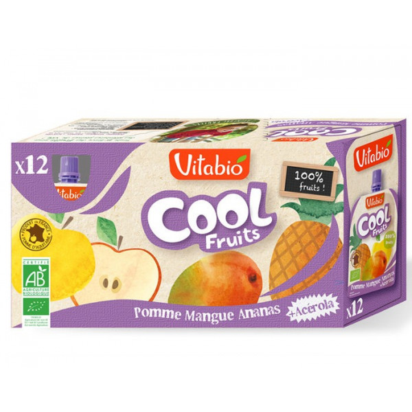 Compote cool fruit pomme mangue ananas - 12x90 g