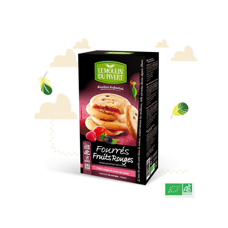 Cookies fourrés fruits rouges - 175g