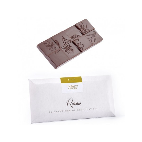 Tablette de chocolat cru 7 épices - 45g
