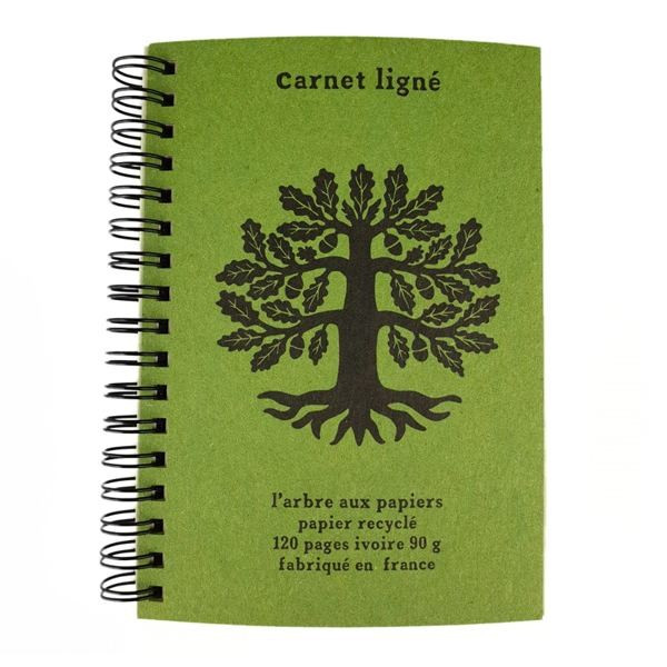 Cahier ligné A6 vert olive - 120 pages